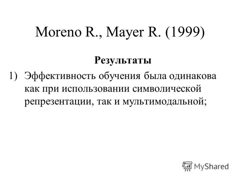 Moreno R., Mayer R. (1999) Результаты 1)Эффективность обучения была одинакова как при использовании символической репрезентации, так и мультимодальной;