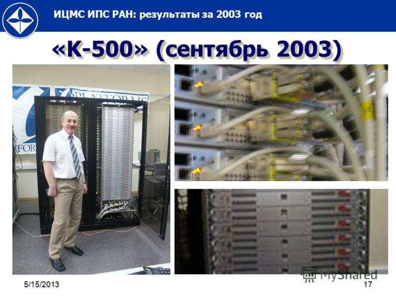 ИЦМС ИПС РАН: результаты за 2003 год 5/15/201317 «K-500» (сентябрь 2003)