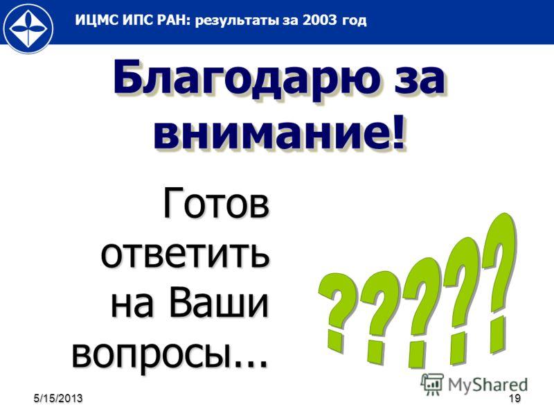 ИЦМС ИПС РАН: результаты за 2003 год 5/15/201319 Благодарю за внимание! Готов ответить на Ваши вопросы...
