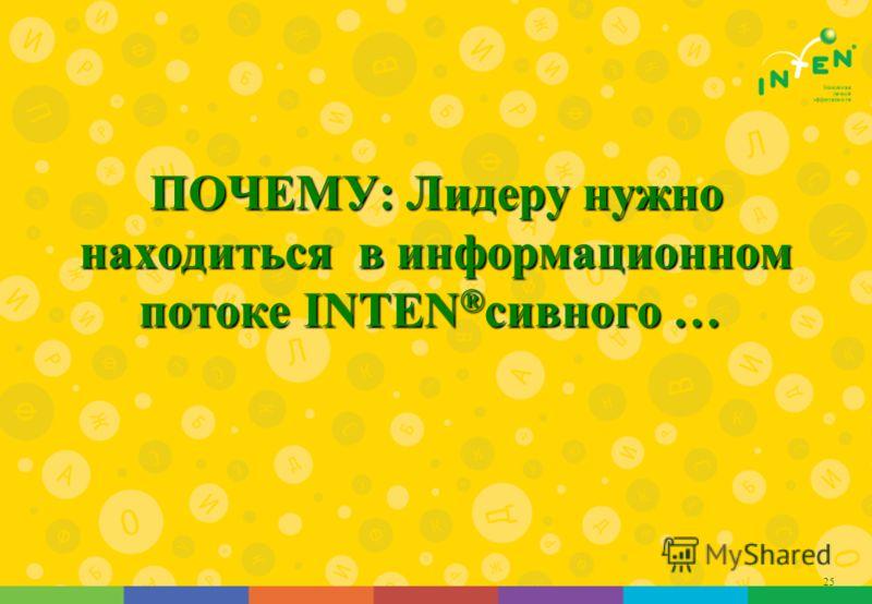25 ПОЧЕМУ: Лидеру нужно находиться в информационном потоке INTEN ® сивного … ПОЧЕМУ: Лидеру нужно находиться в информационном потоке INTEN ® сивного …