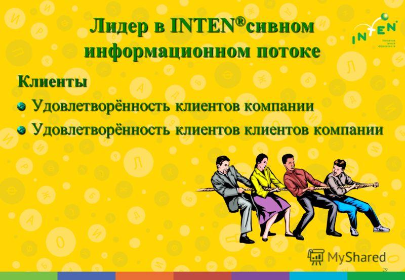 29 Лидер в INTEN ® сивном информационном потоке Клиенты Удовлетворённость клиентов компании Удовлетворённость клиентов клиентов компании