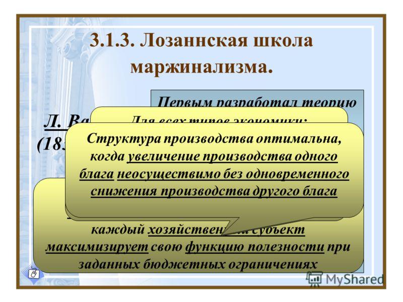 3.1.3. Лозаннская школа маржинализма. Л. Вальрас (1834 – 1910) Первым разработал теорию общего экономического равновесия в условиях совершенной конкуренции В. Парето (1848 – 1923) Разработал понятие общего оптимума Рассмотрел модель общего экономичес