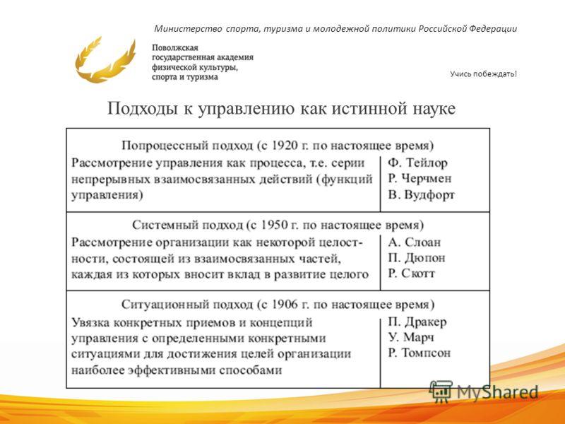 Министерство спорта, туризма и молодежной политики Российской Федерации Учись побеждать! 14 Подходы к управлению как истинной науке