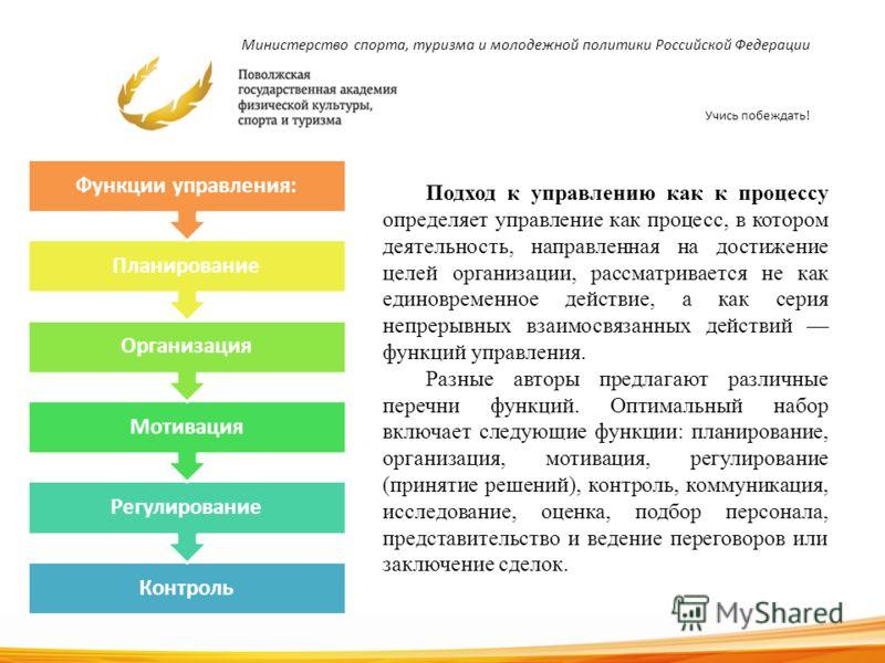 Министерство спорта, туризма и молодежной политики Российской Федерации Учись побеждать! Контроль Регулирование Мотивация Организация Планирование Функции управления: 15 Подход к управлению как к процессу определяет управление как процесс, в котором
