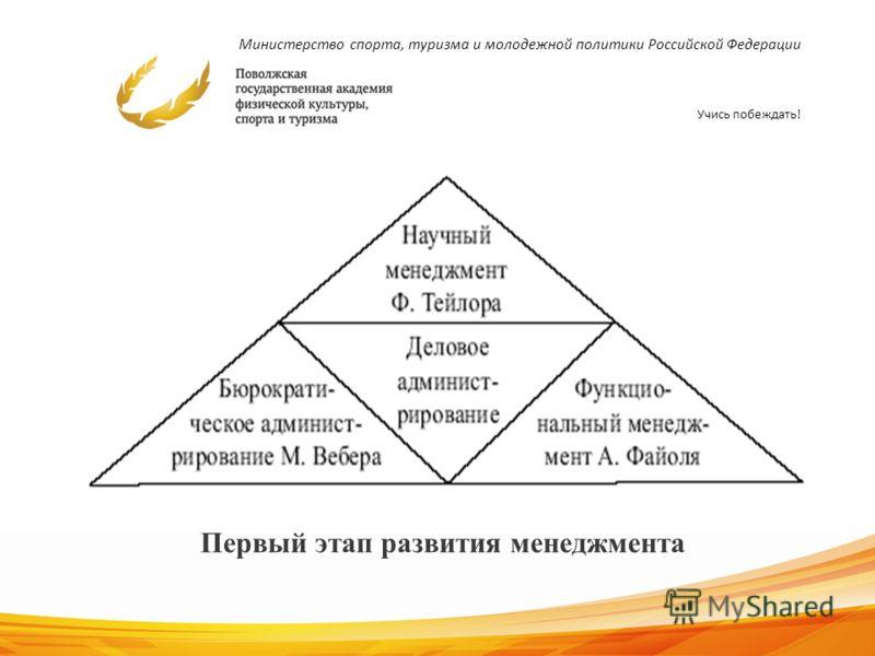 Министерство спорта, туризма и молодежной политики Российской Федерации Учись побеждать! 9 Первый этап развития менеджмента