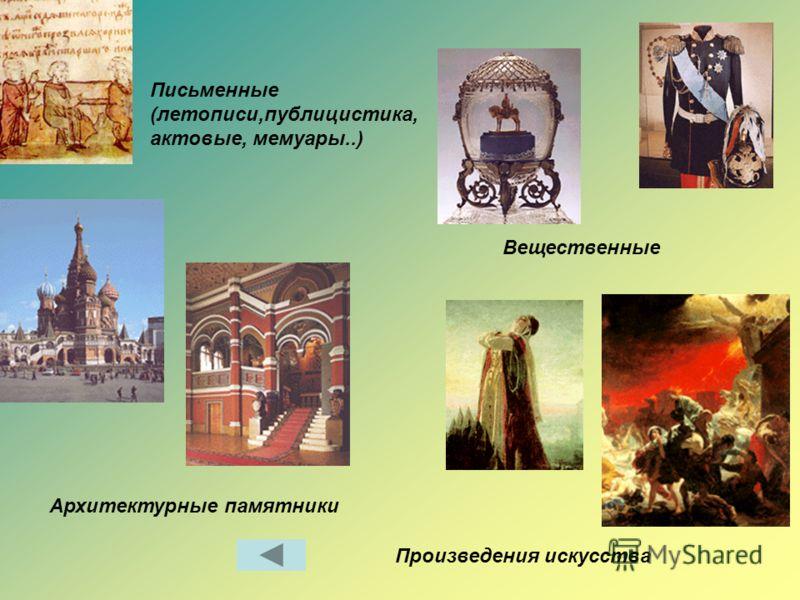 Письменные (летописи,публицистика, актовые, мемуары..) Вещественные Архитектурные памятники Произведения искусства