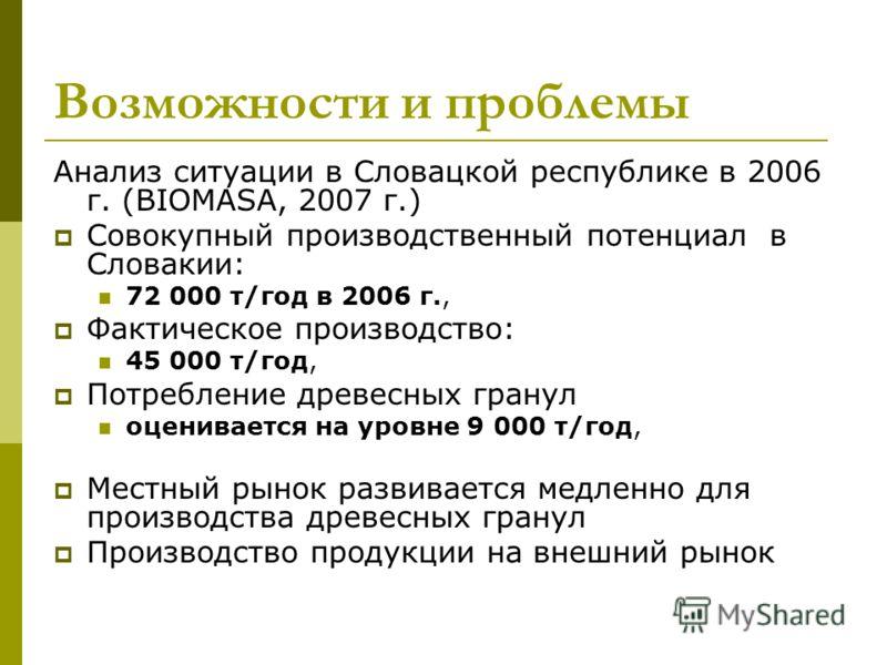 Возможности и проблемы Анализ ситуации в Словацкой республике в 2006 г. (BIOMASA, 2007 г.) Совокупный производственный потенциал в Словакии: 72 000 т/год в 2006 г., Фактическое производство: 45 000 т/год, Потребление древесных гранул оценивается на у