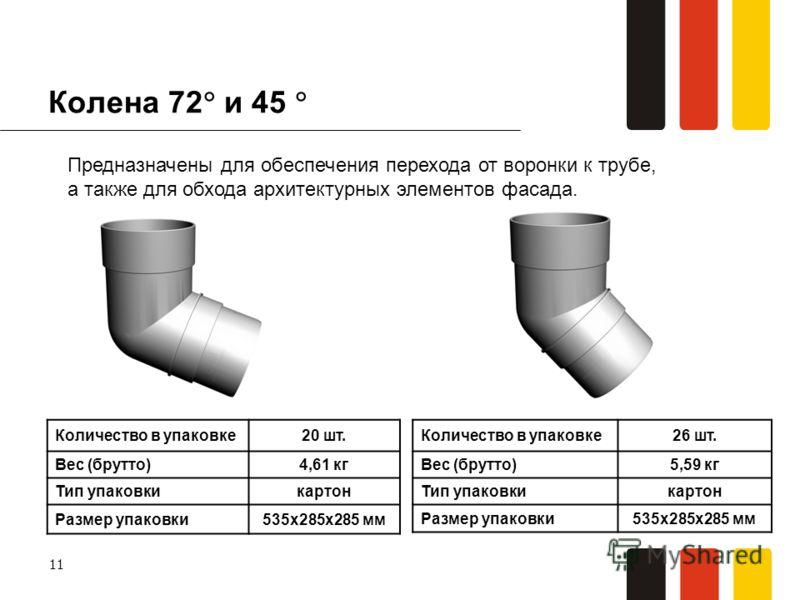 11 Колена 72 и 45 Количество в упаковке20 шт. Вес (брутто)4,61 кг Тип упаковкикартон Размер упаковки535х285х285 мм Предназначены для обеспечения перехода от воронки к трубе, а также для обхода архитектурных элементов фасада. Количество в упаковке26 ш