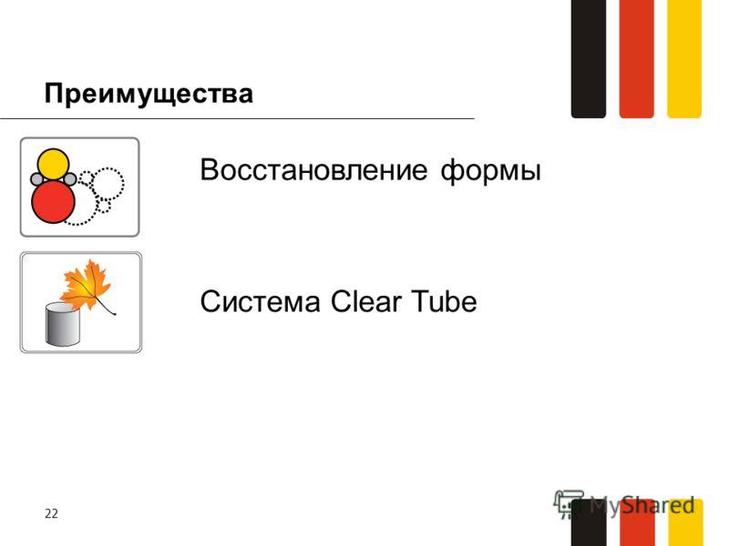 22 Преимущества Система Clear Tube Восстановление формы