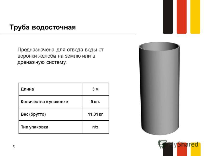 5 Труба водосточная Длина3 м Количество в упаковке5 шт. Вес (брутто)11,01 кг Тип упаковкип/э Предназначена для отвода воды от воронки желоба на землю или в дренажную систему.