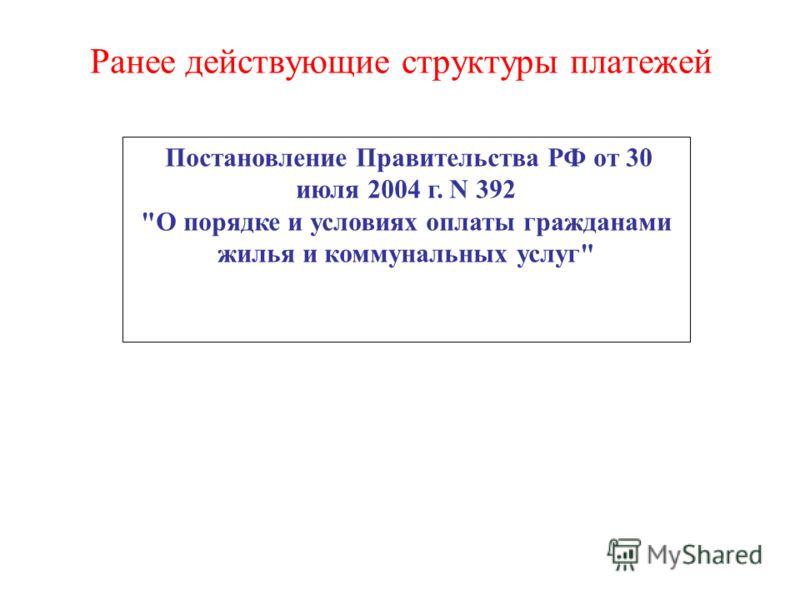 Ранее действующие структуры платежей Постановление Правительства РФ от 30 июля 2004 г. N 392 О порядке и условиях оплаты гражданами жилья и коммунальных услуг