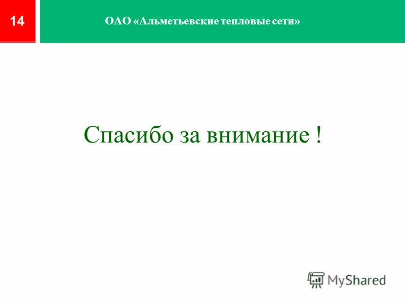 Спасибо за внимание ! 14 ОАО «Альметьевские тепловые сети»