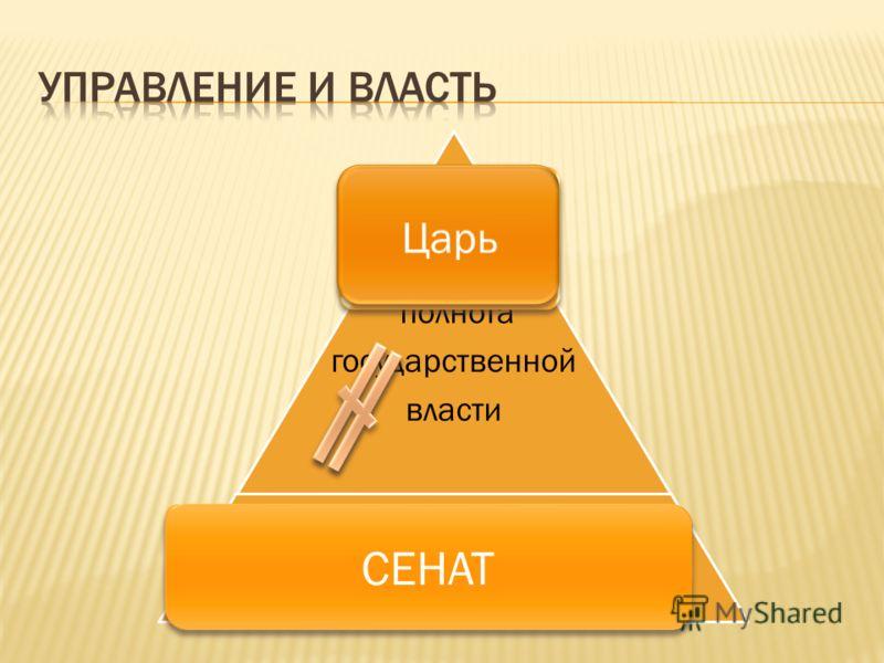 Вся полнота государственной власти Царь Боярская Дума периодически созываемое совещание приказных судей СЕНАТ