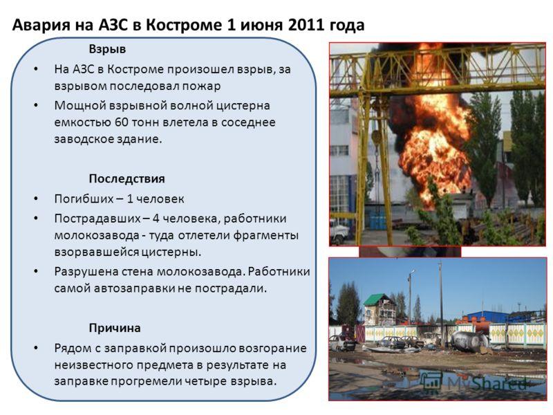 Авария на АЗС в Костроме 1 июня 2011 года Взрыв На АЗС в Костроме произошел взрыв, за взрывом последовал пожар Мощной взрывной волной цистерна емкостью 60 тонн влетела в соседнее заводское здание. Последствия Погибших – 1 человек Пострадавших – 4 чел