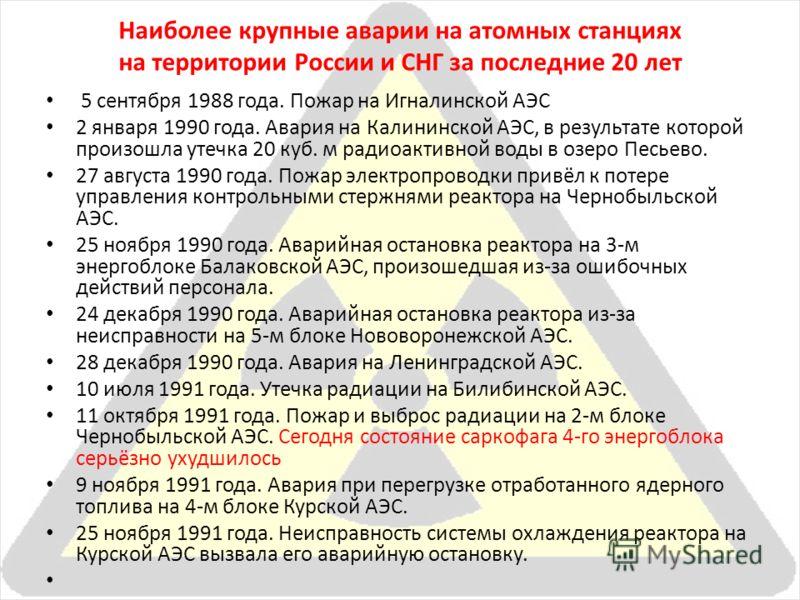 Наиболее крупные аварии на атомных станциях на территории России и СНГ за последние 20 лет 5 сентября 1988 года. Пожар на Игналинской АЭС 2 января 1990 года. Авария на Калининской АЭС, в результате которой произошла утечка 20 куб. м радиоактивной вод