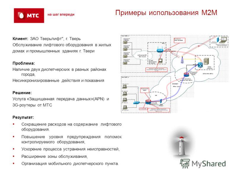 Примеры использования М2М Клиент: ЗАО Тверьлифт