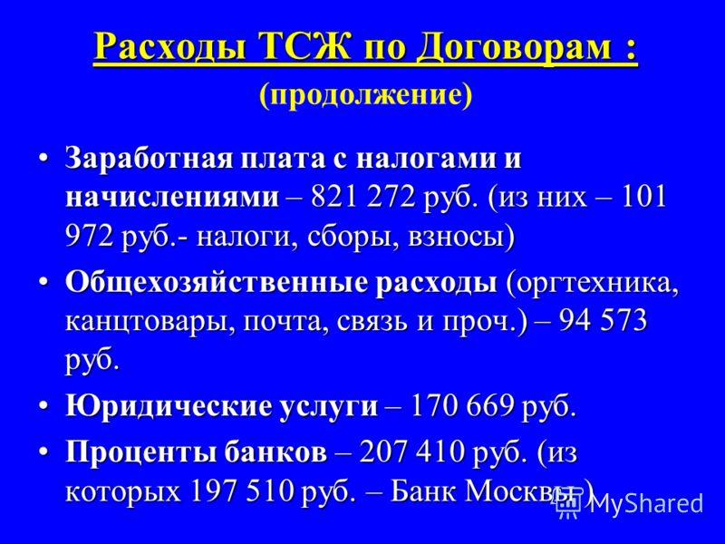 Расходы ТСЖ по Договорам : Расходы ТСЖ по Договорам : (продолжение) Заработная плата с налогами и начислениями – 821 272 руб. (из них – 101 972 руб.- налоги, сборы, взносы)Заработная плата с налогами и начислениями – 821 272 руб. (из них – 101 972 ру