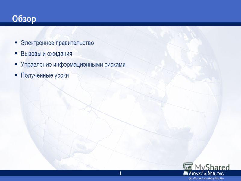 Всемирный банк Принятие мер в отношении технологических рисков в целях обеспечения успешности инициатив электронного правительства 30 января 2007 года Вернер Липпунер, Ernst & Young LLP, Вашингтон