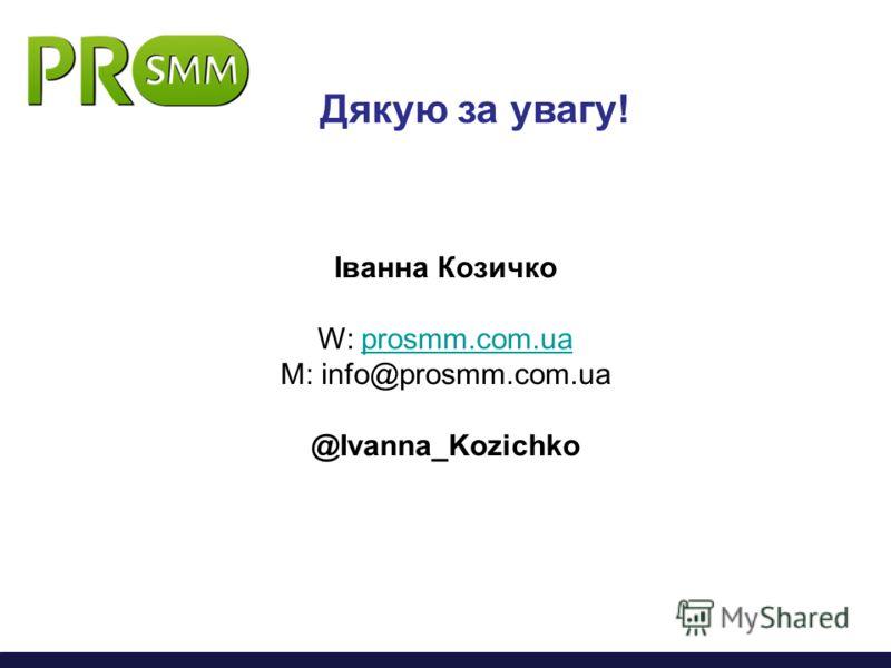 Дякую за увагу! Іванна Козичко W: prosmm.com.uaprosmm.com.ua M: info@prosmm.com.ua @Ivanna_Kozichko