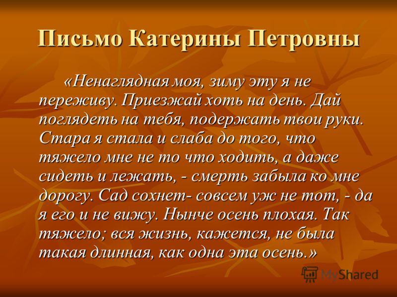 Письмо Катерины Петровны «Ненаглядная моя, зиму эту я не переживу. Приезжай хоть на день. Дай поглядеть на тебя, подержать твои руки. Стара я стала и слаба до того, что тяжело мне не то что ходить, а даже сидеть и лежать, - смерть забыла ко мне дорог