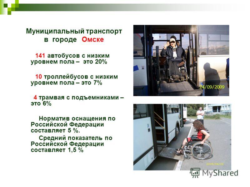 Муниципальный транспорт в городе Омске 141 автобусов с низким уровнем пола – это 20% 10 троллейбусов с низким уровнем пола – это 7% 4 трамвая с подъемниками – это 6% Норматив оснащения по Российской Федерации составляет 5 %. Средний показатель по Рос
