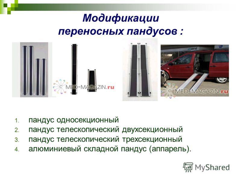 Модификации переносных пандусов : 1. пандус односекционный 2. пандус телескопический двухсекционный 3. пандус телескопический трехсекционный 4. алюминиевый складной пандус (аппарель).