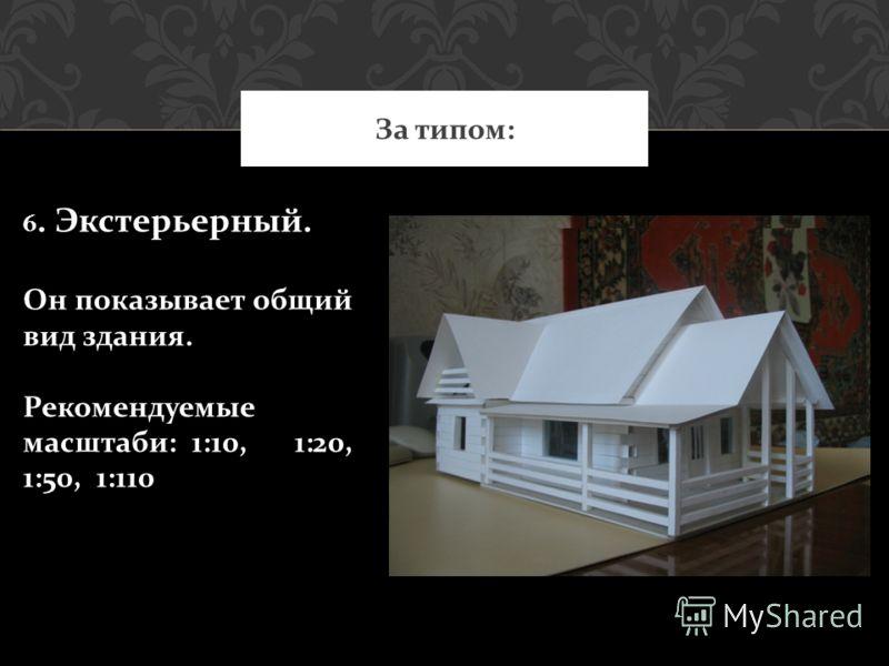 За типом: 6. Экстерьерный. Он показывает общий вид здания. Рекомендуемые масштаби: 1:10, 1:20, 1:50, 1:110