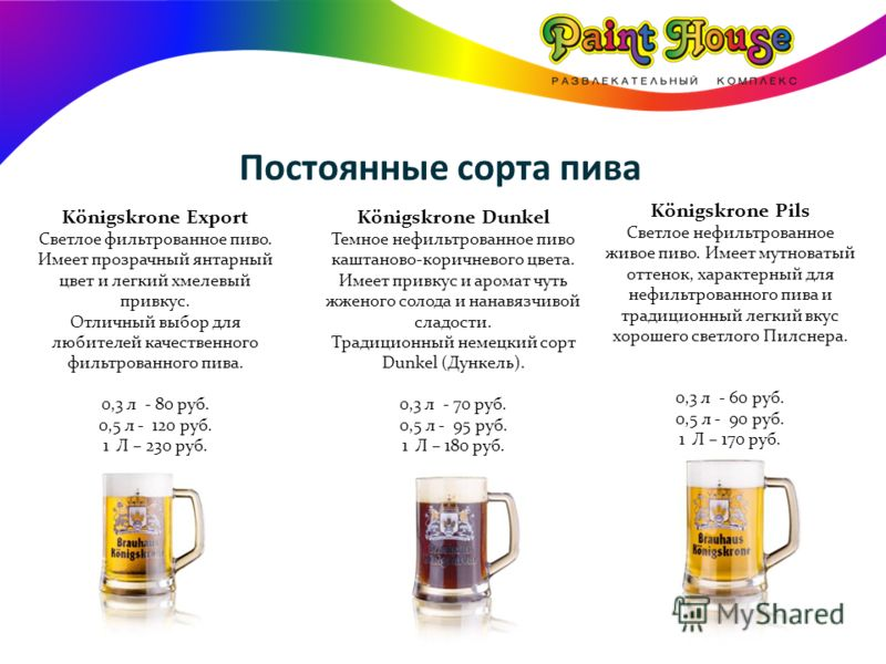 Постоянные сорта пива Königskrone Pils Светлое нефильтрованное живое пиво. Имеет мутноватый оттенок, характерный для нефильтрованного пива и традиционный легкий вкус хорошего светлого Пилснера. 0,3 л - 60 руб. 0,5 л - 90 руб. 1 Л – 170 руб. Königskro