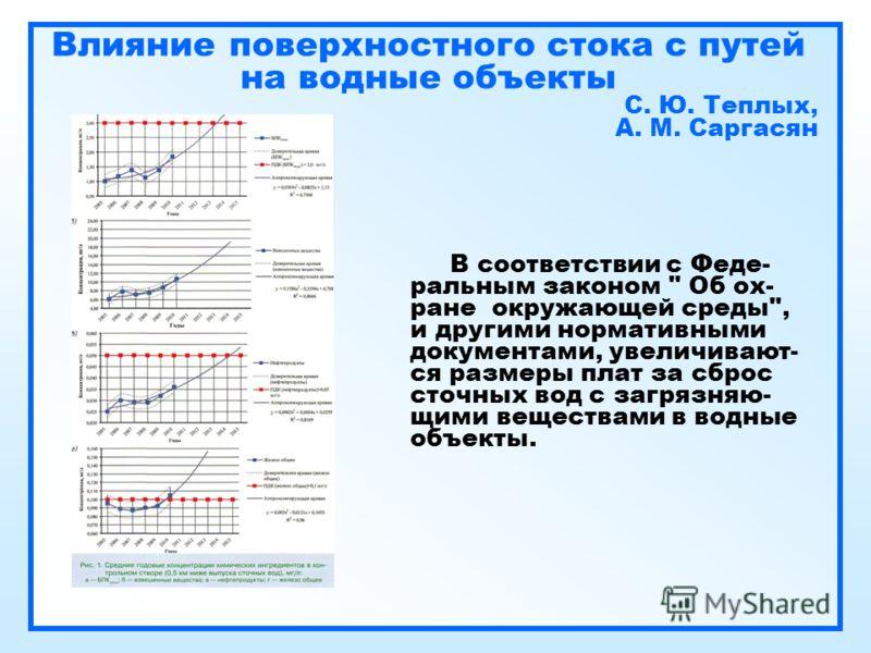 Влияние поверхностного стока с путей на водные объекты С. Ю. Теплых, А. М. Саргасян В соответствии с Феде- ральным законом