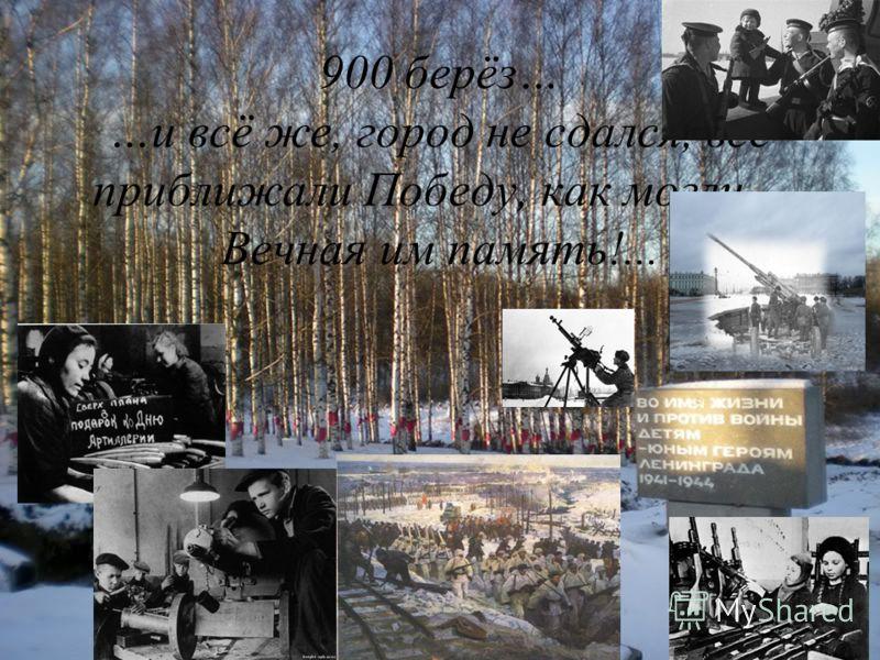 900 берёз… …и всё же, город не сдался, все приближали Победу, как могли… Вечная им память!...