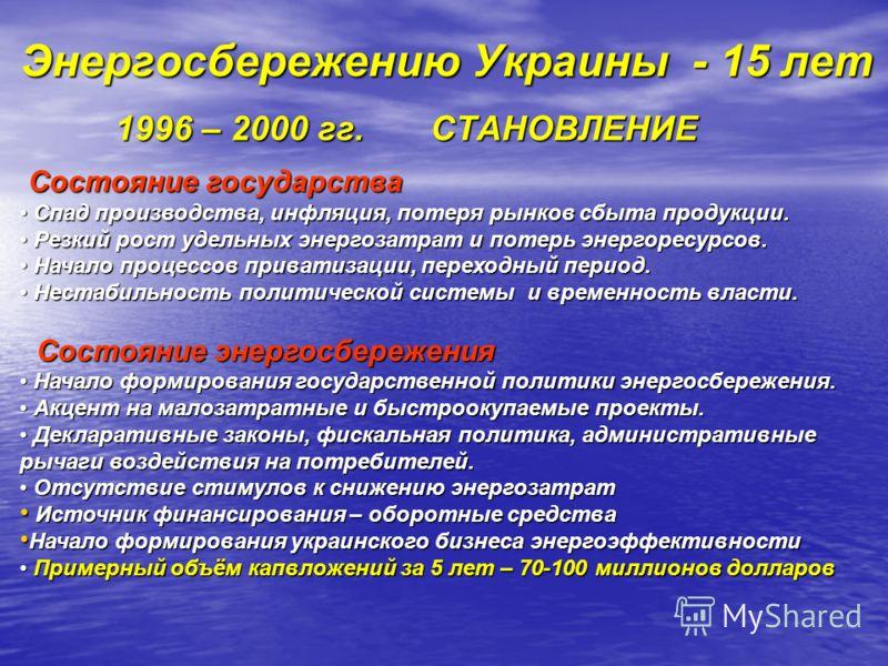 Энергосбережению Украины - 15 лет 1996 – 2000 гг. СТАНОВЛЕНИЕ 1996 – 2000 гг. СТАНОВЛЕНИЕ Состояние государства Состояние государства Спад производства, инфляция, потеря рынков сбыта продукции. Спад производства, инфляция, потеря рынков сбыта продукц