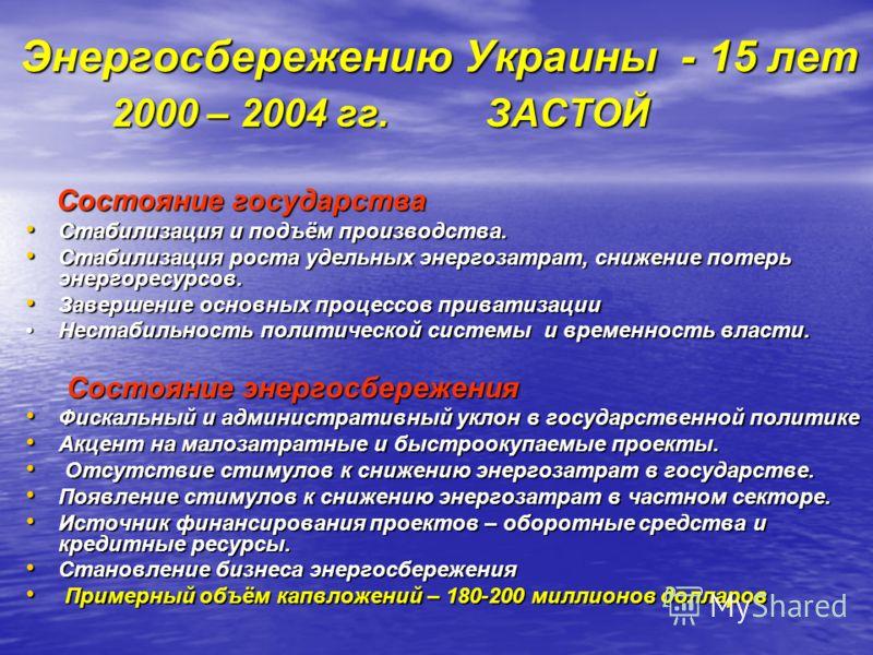 Энергосбережению Украины - 15 лет 2000 – 2004 гг. ЗАСТОЙ 2000 – 2004 гг. ЗАСТОЙ Состояние государства Состояние государства Стабилизация и подъём производства. Стабилизация и подъём производства. Стабилизация роста удельных энергозатрат, снижение пот
