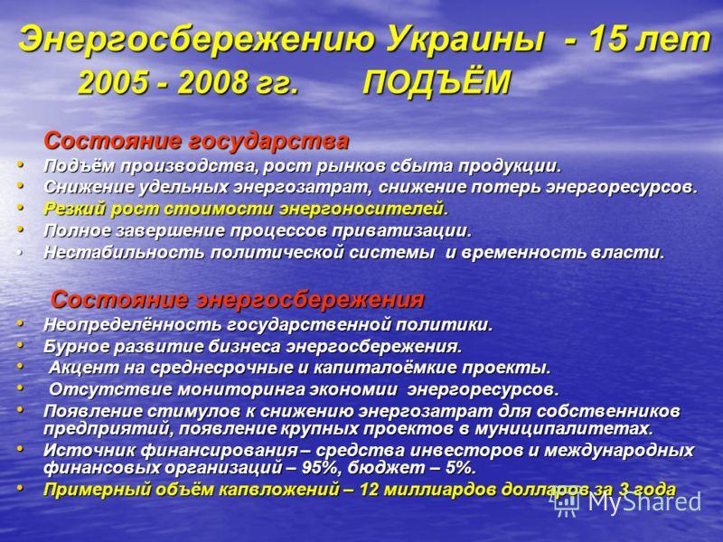 Энергосбережению Украины - 15 лет 2005 - 2008 гг. ПОДЪЁМ 2005 - 2008 гг. ПОДЪЁМ Состояние государства Состояние государства Подъём производства, рост рынков сбыта продукции. Подъём производства, рост рынков сбыта продукции. Снижение удельных энергоза
