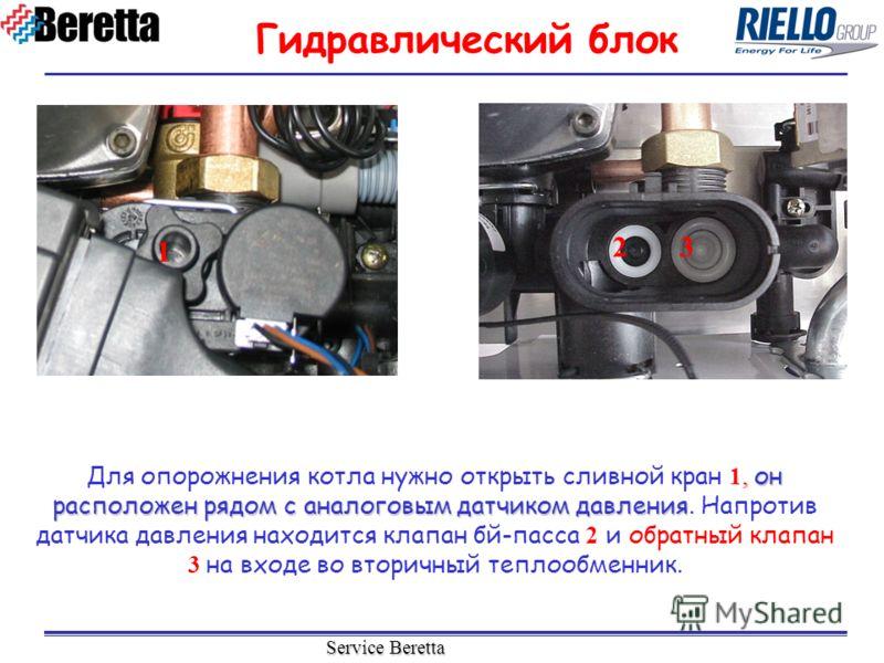Service Beretta, он расположен рядом с аналоговым датчиком давления Для опорожнения котла нужно открыть сливной кран 1, он расположен рядом с аналоговым датчиком давления. Напротив датчика давления находится клапан бй-пасса 2 и обратный клапан 3 на в