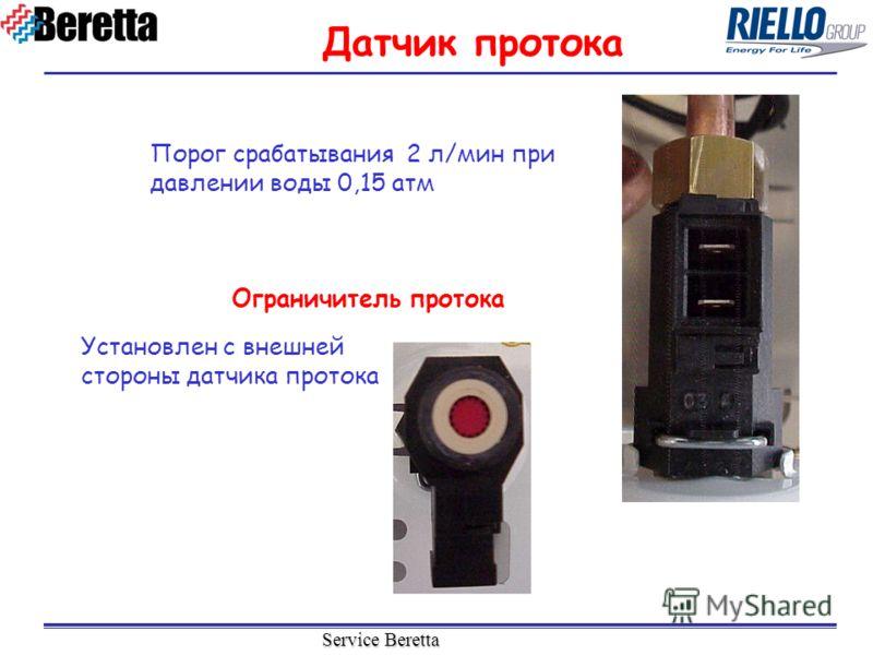 Service Beretta Порог срабатывания 2 л/мин при давлении воды 0,15 атм Датчик протока Установлен с внешней стороны датчика протока Ограничитель протока