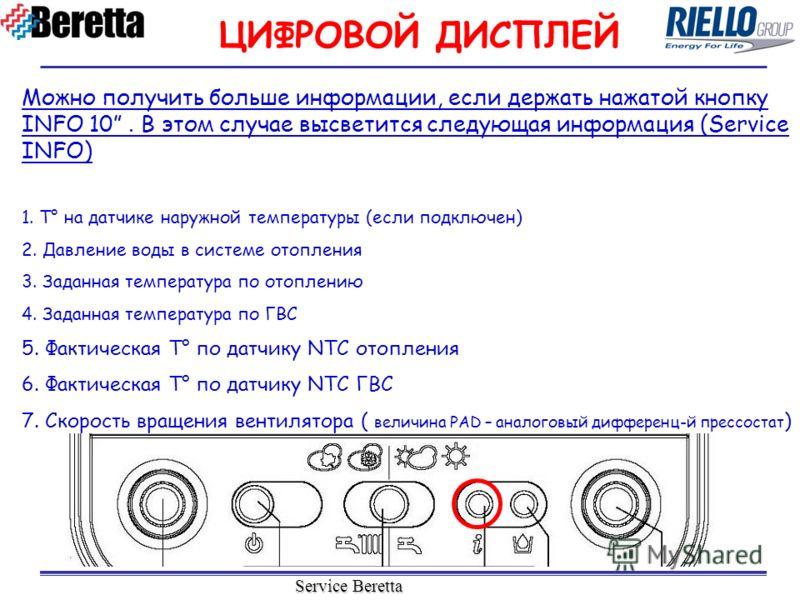 Service Beretta Можно получить больше информации, если держать нажатой кнопку INFO 10. В этом случае высветится следующая информация (Service INFO) 1. T° на датчике наружной температуры (если подключен) 2. Давление воды в системе отопления 3. Заданна