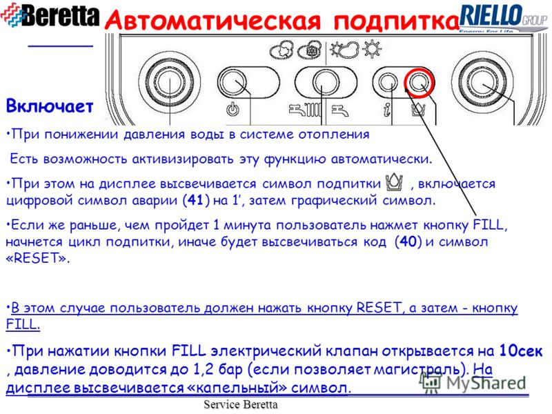 Service Beretta Включается: При понижении давления воды в системе отопления Есть возможность активизировать эту функцию автоматически. При этом на дисплее высвечивается символ подпитки, включается цифровой символ аварии (41) на 1, затем графический с