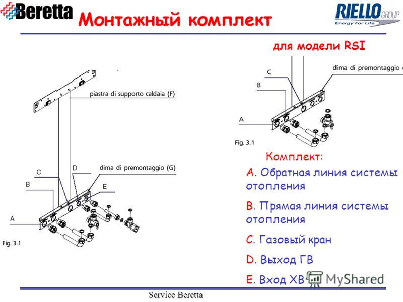 Service Beretta Монтажный комплект A. Обратная линия системы отопления B. Прямая линия системы отопления C. Газовый кран D. Выход ГВ E. Вход ХВ Комплект: для модели RSI