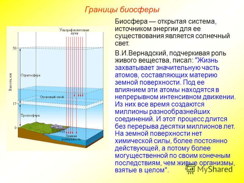 Границы биосферы Биосфера открытая система, источником энергии для ее существования является солнечный свет. В.И.Вернадский, подчеркивая роль живого вещества, писал: