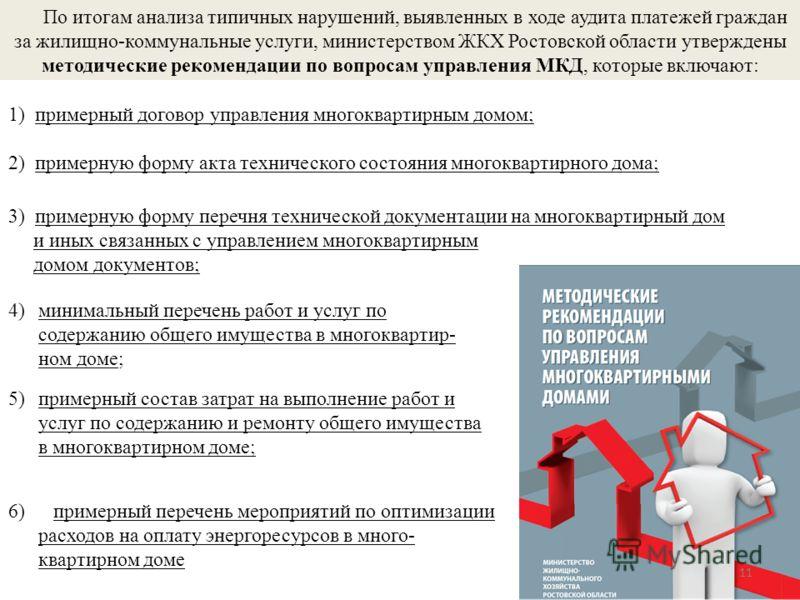 По итогам анализа типичных нарушений, выявленных в ходе аудита платежей граждан за жилищно-коммунальные услуги, министерством ЖКХ Ростовской области утверждены методические рекомендации по вопросам управления МКД, которые включают: 11 1) примерный до