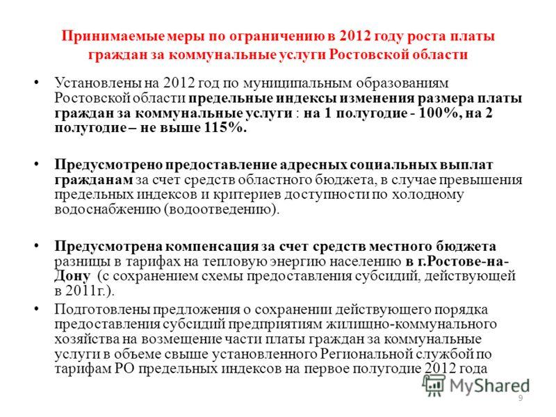 9 Принимаемые меры по ограничению в 2012 году роста платы граждан за коммунальные услуги Ростовской области Установлены на 2012 год по муниципальным образованиям Ростовской области предельные индексы изменения размера платы граждан за коммунальные ус