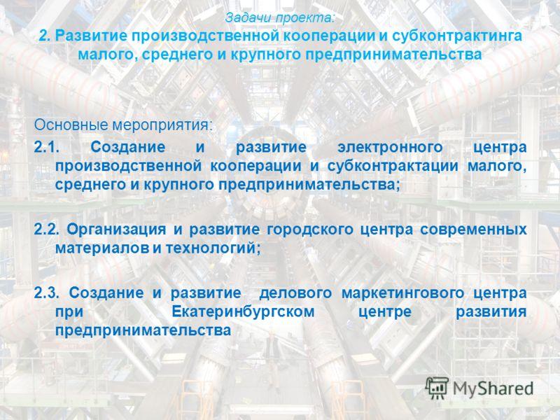 Задачи проекта: 2. Развитие производственной кооперации и субконтрактинга малого, среднего и крупного предпринимательства Основные мероприятия: 2.1. Создание и развитие электронного центра производственной кооперации и субконтрактации малого, среднег