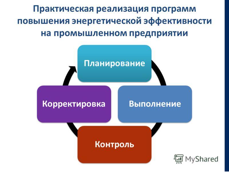 Практическая реализация программ повышения энергетической эффективности на промышленном предприятии ПланированиеВыполнениеКонтрольКорректировка