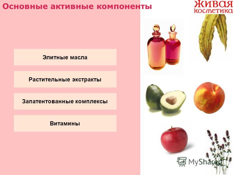 Основные активные компоненты Элитные масла Растительные экстракты Запатентованные комплексы Витамины