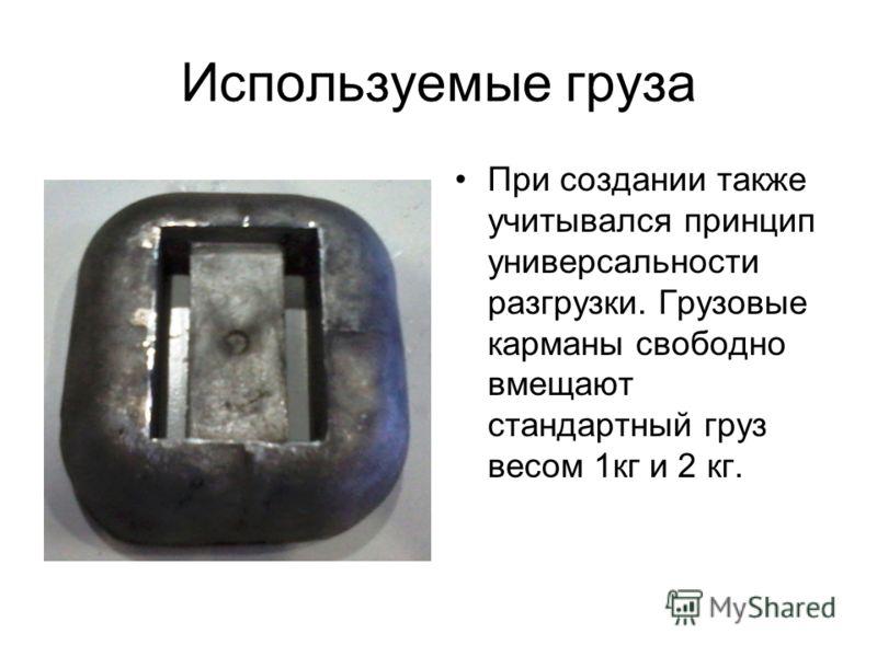 Используемые груза При создании также учитывался принцип универсальности разгрузки. Грузовые карманы свободно вмещают стандартный груз весом 1кг и 2 кг.