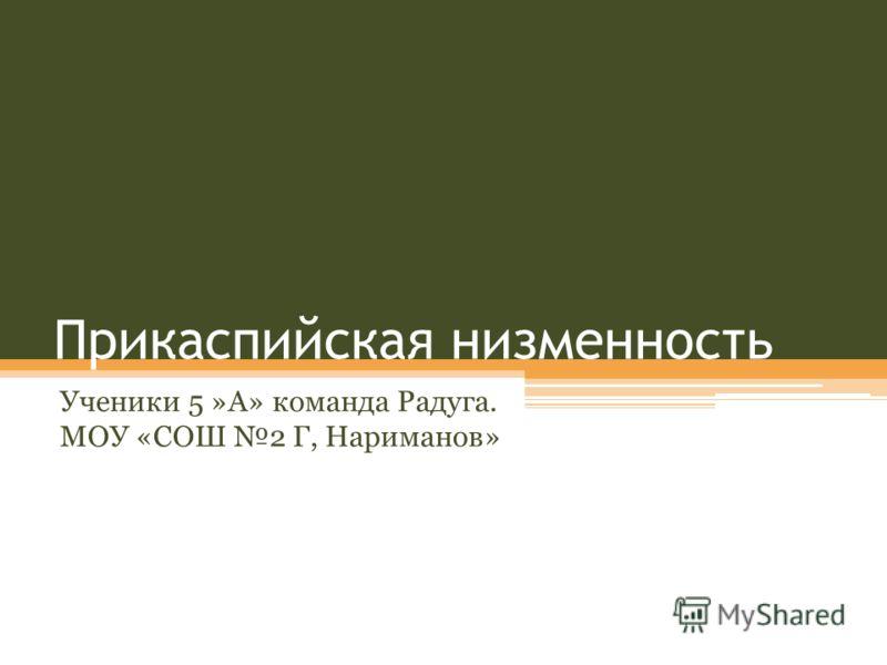 Прикаспийская низменность Ученики 5 »А» команда Радуга. МОУ «СОШ 2 Г, Нариманов»