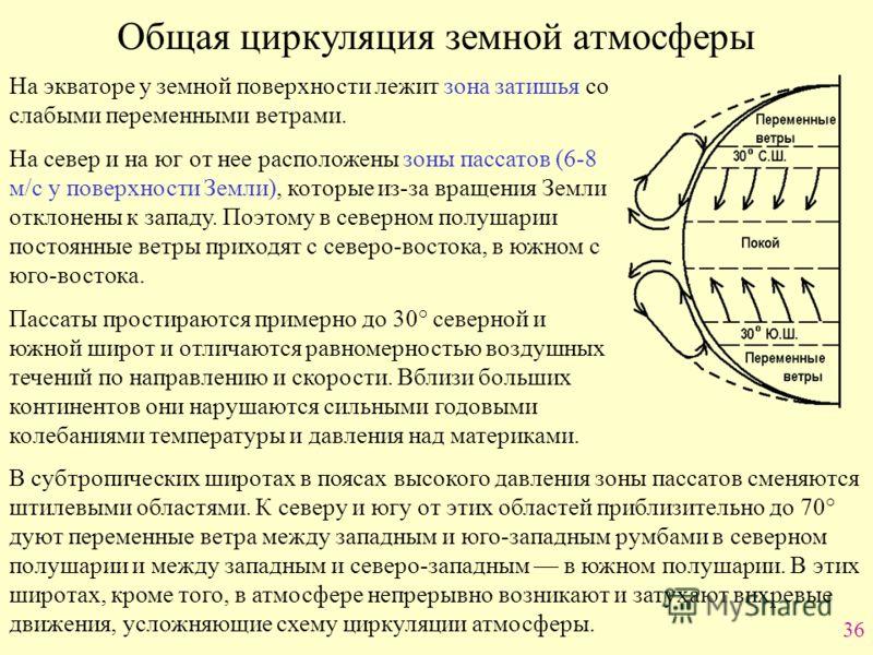 36 Общая циркуляция земной атмосферы На экваторе у земной поверхности лежит зона затишья со слабыми переменными ветрами. На север и на юг от нее расположены зоны пассатов (6-8 м/с у поверхности Земли), которые из-за вращения Земли отклонены к западу.