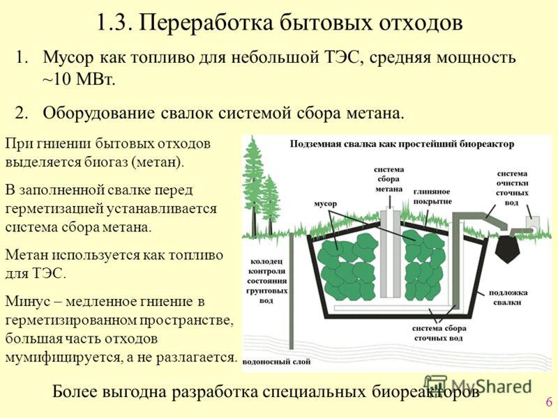 6 1.3. Переработка бытовых отходов 1.Мусор как топливо для небольшой ТЭС, средняя мощность ~10 МВт. 2.Оборудование свалок системой сбора метана. При гниении бытовых отходов выделяется биогаз (метан). В заполненной свалке перед герметизацией устанавли