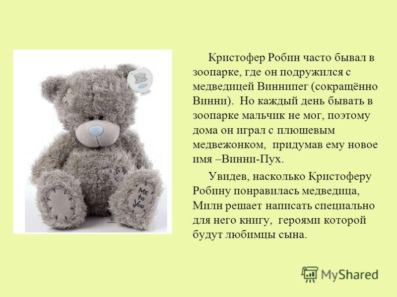 Кристофер Робин часто бывал в зоопарке, где он подружился с медведицей Виннипег (сокращённо Винни). Но каждый день бывать в зоопарке мальчик не мог, поэтому дома он играл с плюшевым медвежонком, придумав ему новое имя –Винни-Пух. Увидев, насколько Кр