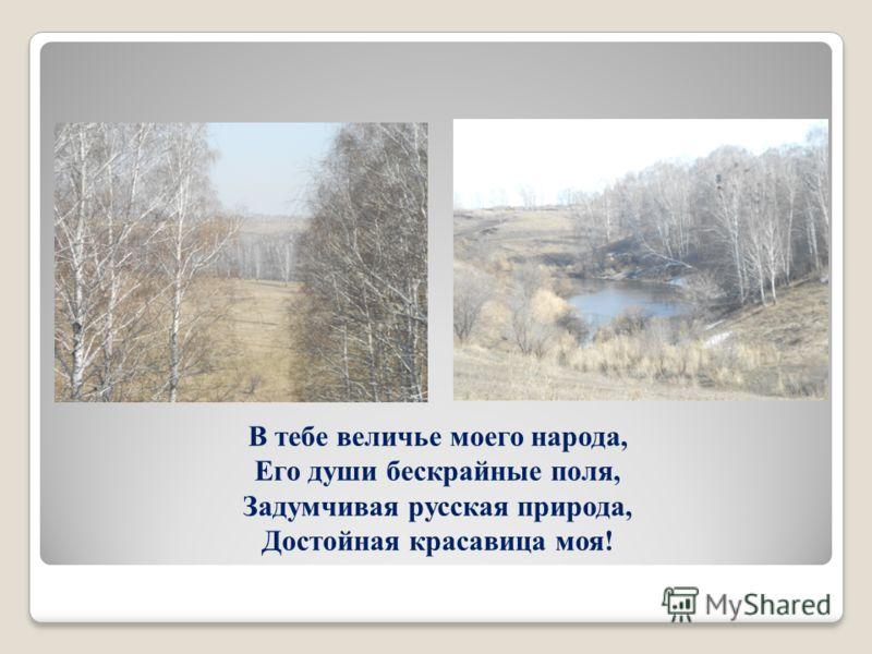В тебе величье моего народа, Его души бескрайные поля, Задумчивая русская природа, Достойная красавица моя!